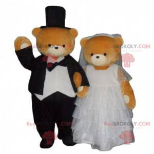 Getrouwde teddybeer mascotte, man en vrouw kostuum -