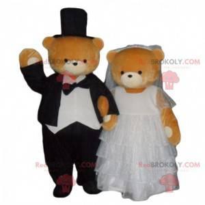 Mascote de urso de pelúcia casado, fantasia de marido e mulher