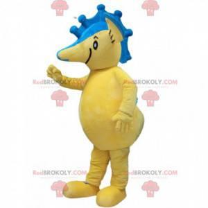Žlutý a modrý maskot mořský koník, mořský kostým -