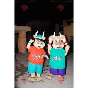 2 mascotes vacas fofas e coloridas - Redbrokoly.com
