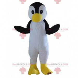 Mascota de pingüino blanco y negro totalmente personalizable -