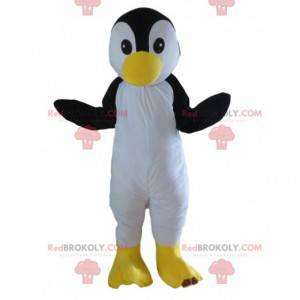 Mascotte del pinguino in bianco e nero completamente