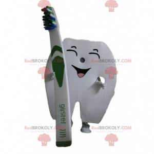 Giant tooth mascot with a toothbrush - Redbrokoly.com
