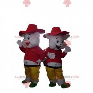 """2 mascotes suínos do desenho animado """"Os 3 porquinhos"""" -"""