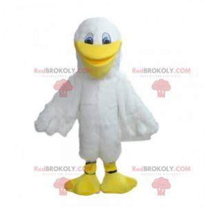Witte meeuw mascotte, pelikaan kostuum, zeevogel -