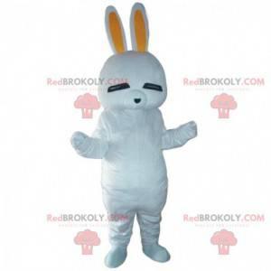 Mascote de coelho branco, fantasia de coelho, fantasia de
