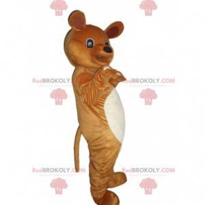 Mascote urso de pelúcia marrom e branco, fantasia de urso -