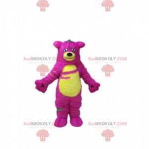 Roze en geel monster mascotte, harig en kleurrijk berenkostuum