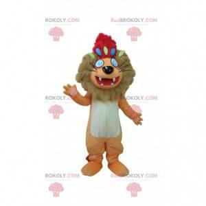 Mascota león marrón y blanco con una cresta roja -