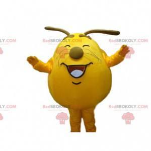 Geel monster mascotte, schattig en joviaal, groot hoofd kostuum