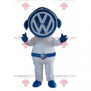 Blaues und weißes Volkswagen Maskottchen, berühmte Automarke -