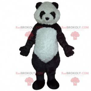 Maskot černobílý panda, měkký a chlupatý, kostým medvěda -