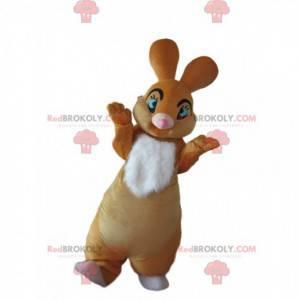 Mascotte coniglio marrone e bianco con begli occhi azzurri -