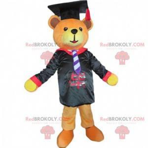 Mascota de oso de peluche graduado, graduado, disfraz de