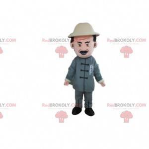 Mascote de fazendeiro, explorador, fantasia de aventureiro -