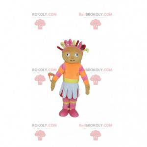 Dukke maskot, farverigt og feminint spædbarn - Redbrokoly.com