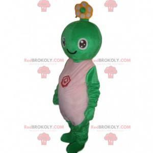 Criatura mascote verde, fantasia de tartaruga sorridente -