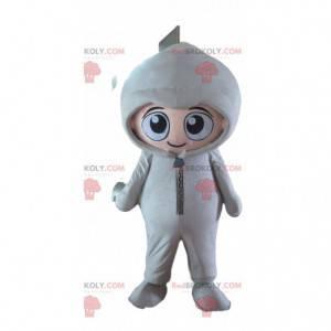 Børnemaskot klædt i en hvid jumpsuit - Redbrokoly.com