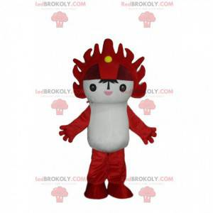 Mascota de personaje manga blanco y rojo, traje manga -