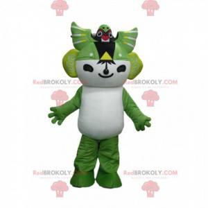 Weißes und grünes Manga-Charakter-Maskottchen, Manga-Kostüm -