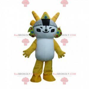 Mascota de personaje de manga blanco y amarillo, traje de manga