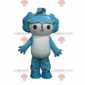 Mascota de personaje de manga blanco y azul, traje de manga -