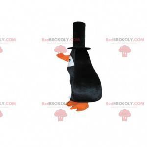 Mascotte pinguïn, zwart vogelkostuum met een lange snavel -