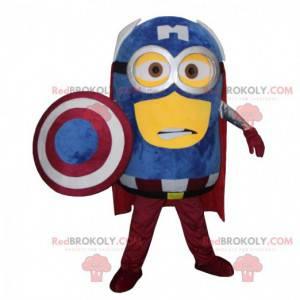 Minions maskot, berømt karakter klædt som en superhelt -