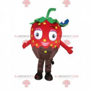 Mascote morango vermelho chocolate, traje gourmet -