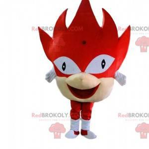 Mascote monstro vermelho com cabeça gigante e fantasia festiva