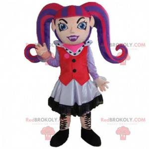 Mascota de niña gótica, colorido disfraz de niña punk -