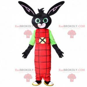 Mascotte coniglio nero con una combinazione rossa, peluche nero