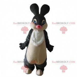 Graues und weißes Kaninchenmaskottchen, großes Kaninchenkostüm