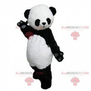 Black and white panda mascot, cute and captivating -