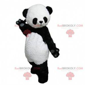 Mascota panda blanco y negro, linda y cautivadora. -