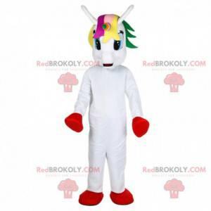 Witte eenhoorn mascotte met gekleurd hoofd - Redbrokoly.com