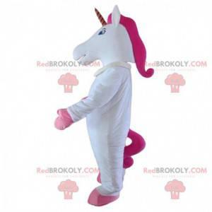Mascote unicórnio branco e rosa, fantasia de fada -