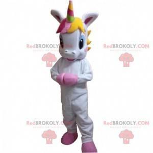 Mascot pequeño unicornio blanco con una melena colorida -