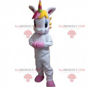 Mascotte piccolo unicorno bianco con una criniera colorata -