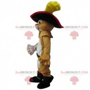 Puss in boots mascotte, beroemde sluwe kat, ridderkostuum -