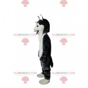 Zwart en wit husky hond mascotte, wolfshond kostuum -