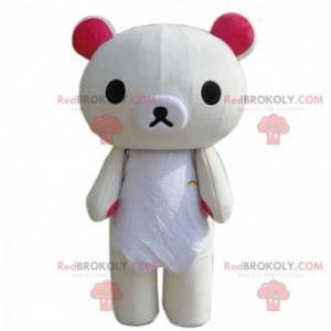 Mascote grande urso de pelúcia bege, fantasia de urso de