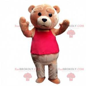 Mascote do urso pardo parecendo triste, fantasia de urso de