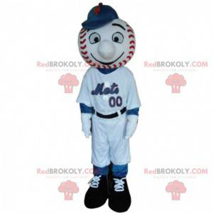 Baseball player mascot with the head in the shape of a ball -