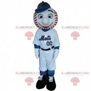 Honkbalspeler mascotte met het hoofd in de vorm van een bal -