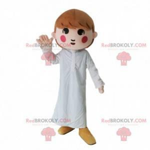 Mascota de niña con pijama blanco, disfraz de niña -