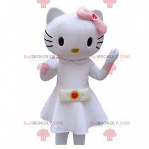 Mascotte Hello Kitty gekleed in een mooie witte jurk -