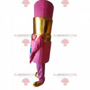Mascote gigante com batom rosa, fantasia de maquiagem -