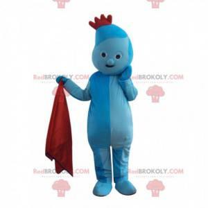 Blaues Charakter-Maskottchen mit einem roten Wappen, blaues