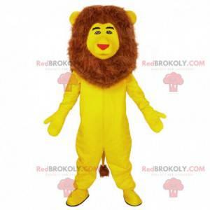Mascote leão amarelo, fantasia de felino personalizável -